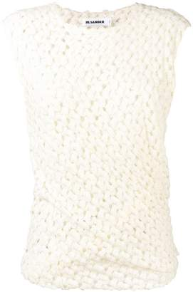 Jil Sander ruched crocheted top