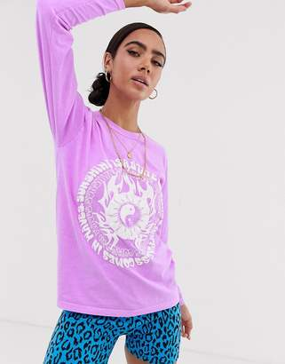 New Girl Order long sleeve t-shirt with oversized state of mind graphic in washed purple