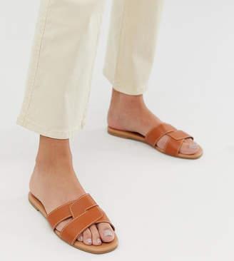 New Look cross strap flat slider sandal in tan