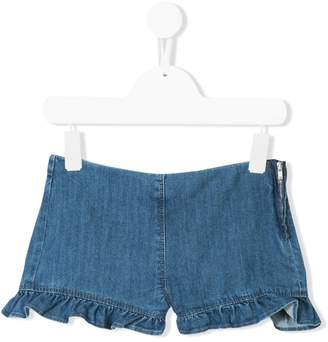 Il Gufo ruffled denim shorts