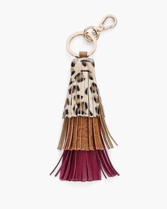 Leopard-Print Haircalf Tassel Key Chain