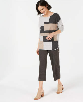 Charter Club Pure Cashmere Colorblock Sweater with Shirttail Hem, Created for Macy's