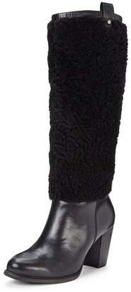 UGG Ava Exposed Fur Knee Boot - Black