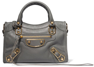 Balenciaga - Metallic Edge City Mini Textured-leather Tote - Anthracite $1,595 thestylecure.com