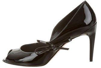 Christian Dior Christian Dior Patent Leather Peep-Toe Pumps