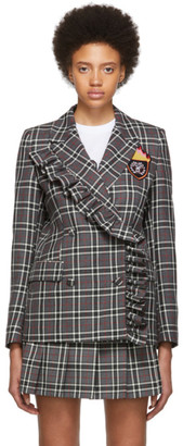 MSGM SSENSE Exclusive Grey Checked Flame Crest Varsity Blazer
