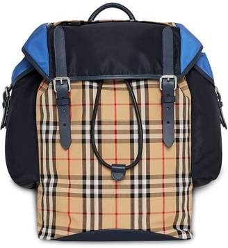 Burberry Colour Block Vintage Check and Leather Ranger Backpack