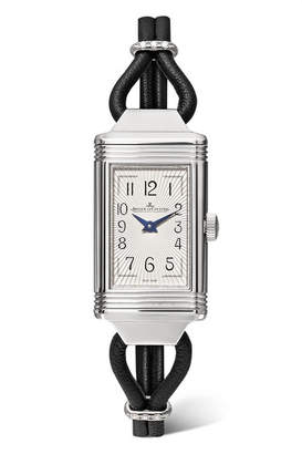 Jaeger-LeCoultre Reverso One Cordonnet 16.3mm Stainless Steel, Leather And Diamond Watch - Silver