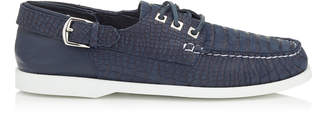 Jimmy Choo ORSON Navy Crocodile Printed Nubuck Boat Shoes