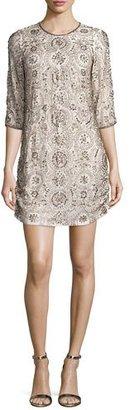Parker 3/4-Sleeve Embellished Shift Dress, Blush $650 thestylecure.com
