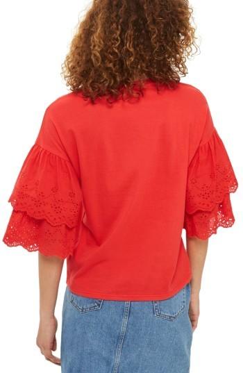 Women's Topshop Eyelet Layer Sleeve Tee T-Shirt 3