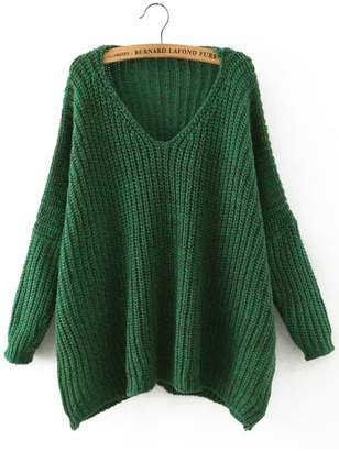 Shein Green V Neck Batwing Sleeve Loose Sweater