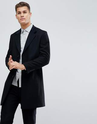 French Connection Wool Blend Overcoat With Velvet Collar