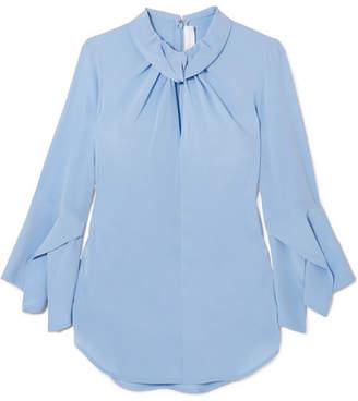 Victoria Beckham - Twist-front Silk Crepe De Chine Blouse - Light blue