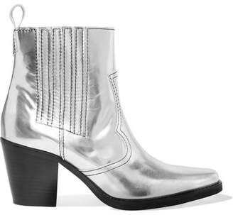 Ganni Callie Metallic Leather Ankle Boots - Silver