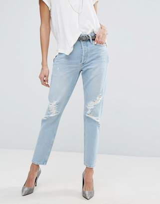 A Gold E A-Gold-E AGOLDE Jamie Hi Rise Straight Jean with Rips