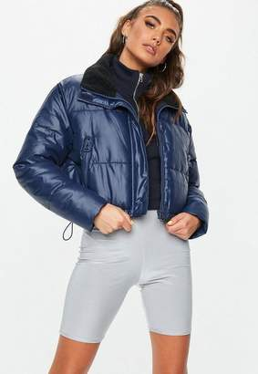 Missguided Navy Crop Oversized Puffer Jacket