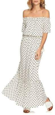 1 STATE 1.STATE Off-Shoulder Cinched Waist Maxi Dress
