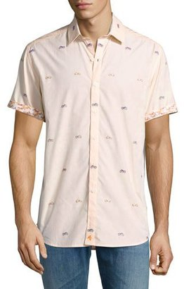 Robert Graham Motorcycle-Print Short-Sleeve Sport Shirt, Tangerine $228 thestylecure.com