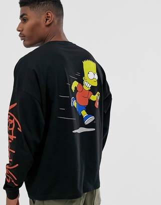 The Simpsons Asos Design ASOS DESIGN oversized long sleeve t-shirt with chest and back print