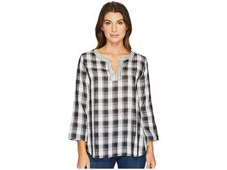 Mod-o-doc Double Sided Plaid Notch Pullover Shirt Women's Long Sleeve Pullover