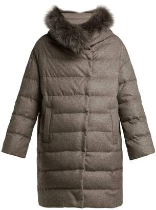 Herno Padded Silk And Cashmere Parka - Womens - Mid Brown