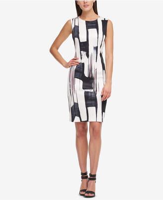 DKNY Brushstroke-Print Sheath Dress, Created for Macy's