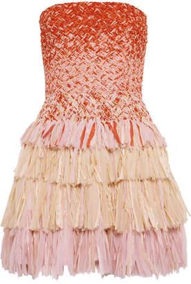 Esteban Cortazar Embellished Silk-gauze And Raffia Mini Dress