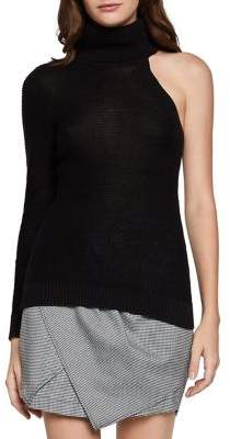 BCBGeneration One-Shoulder Turtleneck Cotton Pullover