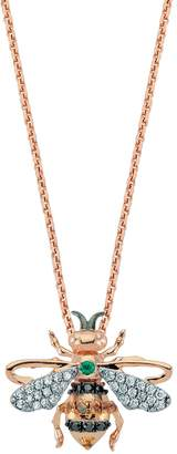 Bee Goddess Diamond and Emerald Honey Bee Necklace