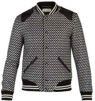 Saint Laurent Leather Trimmed Wool Blend Bomber Jacket - Mens - Black White