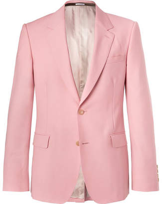Alexander McQueen Pink Slim-Fit Wool and Mohair-Blend Suit Jacket