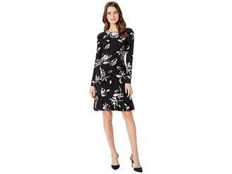 Chaps Floral Long Sleeve Day Dress