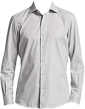 Ermenegildo Zegna Men's Melange Check Button-Down Shirt