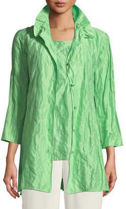 Caroline Rose Ruched-Collar Crinkled Jacket , Plus Size