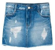 MANGO Ripped-detail denim skirt