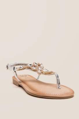 Elsa Embellished Stone T-Strap Sandal - Silver