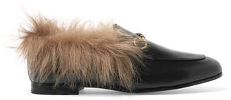 Gucci Jordaan Horsebit-detailed Shearling-lined Leather Loafers - Black