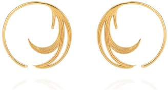 Lee Renee Duck Feather Hoop Earrings Gold Vermeil