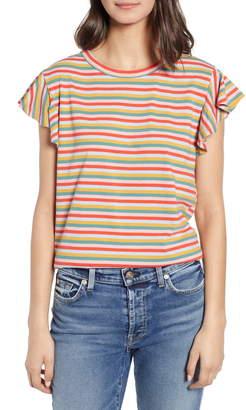 ban.do Mini Vintage Stripe Flounce Sleeve Cotton Tee