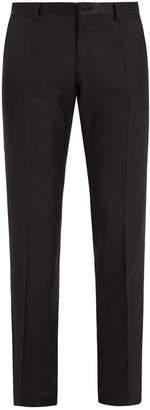 Dolce & Gabbana Satin-trimmed slim-leg wool-blend trousers