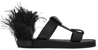 Valentino Garavani Feather-embellished Leather Slides - Black