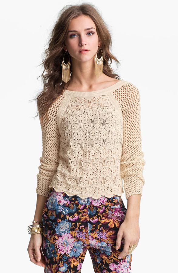 Frenchi Mix Knit Crochet Sweater (Juniors)