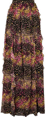 Giambattista Valli Floral-print Silk-georgette Ruffled Pleated Maxi Skirt - Black
