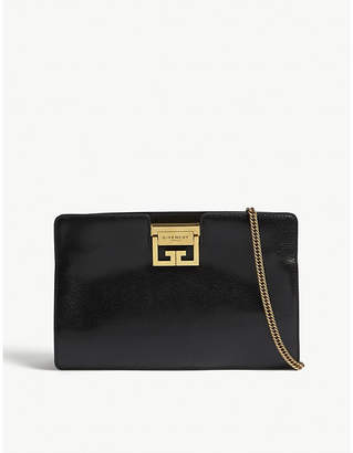 Givenchy Logo grained leather clutch