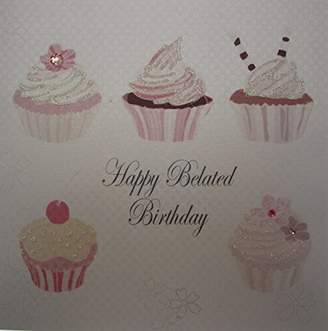 "White Cotton Cards Cupcakes ""Happy Belated Birthday"" Handmade Birthday Card, White"