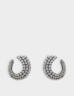 Helene Zubeldia Twisted Clip Earrings in Ruthenium and Crystals