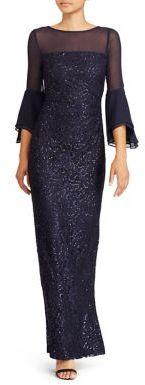 Lauren Ralph Lauren Sequined Mesh Bell Sleeve Gown $240 thestylecure.com