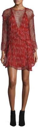 IRO Canyon Long-Sleeve Ruffled Dress, Red/White