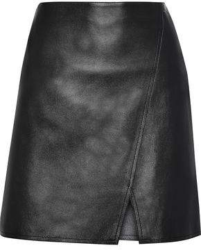 Belstaff Estelle Wrap-Effect Leather Mini Skirt